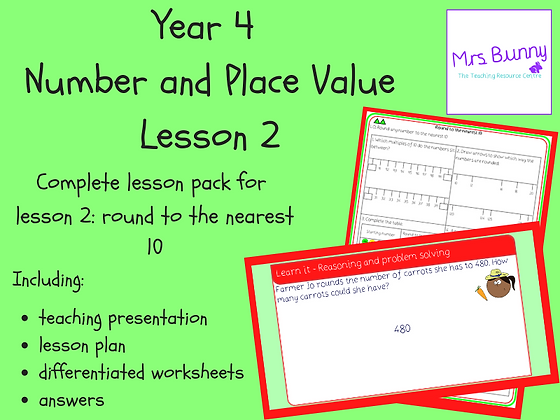 Round to the nearest 10 lesson pack (Year 4 Number and Place Value)