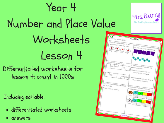 Count in 1000s worksheets (Year 4 Number and Place Value)