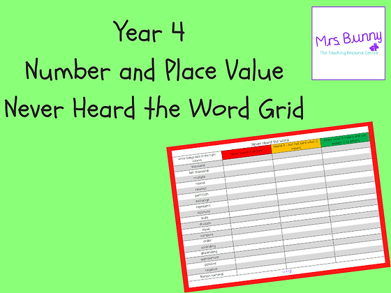 Never Heard the Word Grid (Year 4 Number and Place Value)