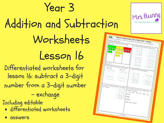 Subtract a 3d number from a 3d number - exchange worksheets (Year 3 Addition and