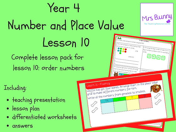 Order numbers lesson pack (Year 4 Number and Place Value)