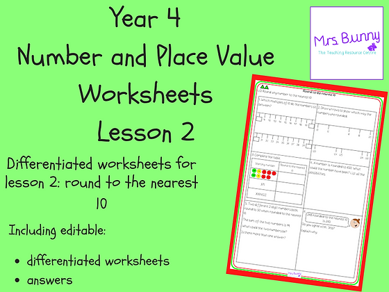 Round to the nearest 10 worksheets (Year 4 Number and Place Value)