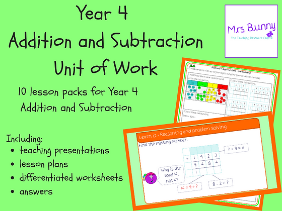 Year 4 Addition and Subtraction Unit Pack