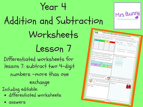 Subtract 4d numbers-more than 1 exchange worksheets(Year 4 Addition&Subtraction)