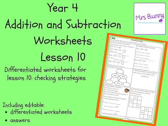 Checking strategies worksheets (Year 4 Addition and Subtraction)