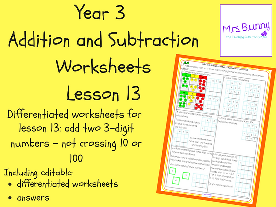 Add two 3-digit numbers - not crossing 10 or 100 worksheets (Year 3 Addition and