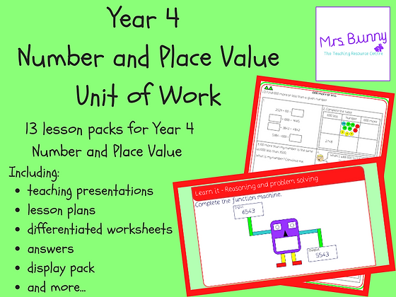 Year 4 Number and Place Value Unit Pack