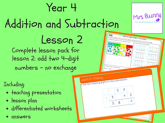 Add two 4-digit numbers - no exchange lesson (Year 4 Addition and Subtraction)