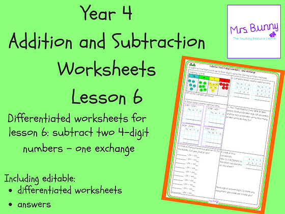 Subtract two 4-digit numbers - one exchange worksheets (Year 4 Addition and Subt
