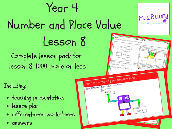 1000 more or less lesson pack (Year 4 Number and Place Value)