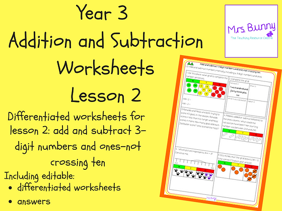 Add and subtract 3-digit numbers and ones worksheets (Year 3 Addition and Subtra