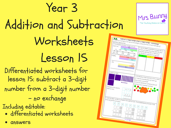 Subtract a 3d number from a 3d number - no exchange worksheets (Year 3 Addition