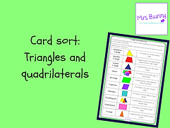 triangles and quadrilaterals card sort