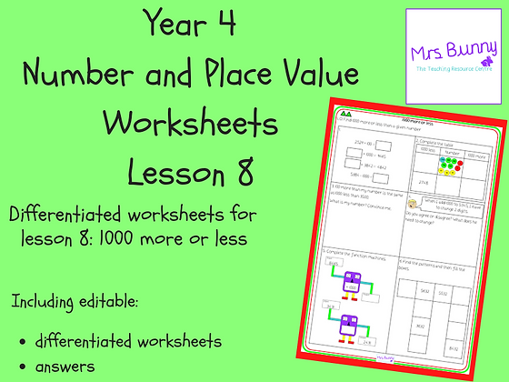 1000 more or less worksheets (Year 4 Number and Place Value)