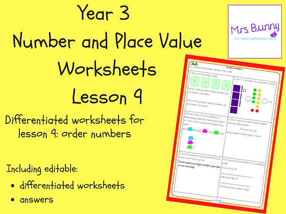 Order numbers worksheets (Year 3 Number and Place Value)