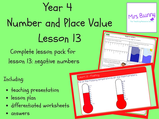 Negative numbers lesson pack (Year 4 Number and Place Value)