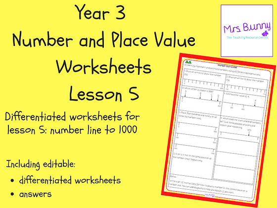 Number line to 1000 worksheets (Year 3 Number and Place Value)