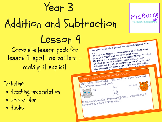 Spot the pattern - making it explicit lesson pack (Year 3 Addition and Subtracti