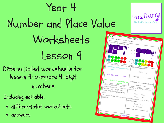 Compare 4-digit numbers worksheets (Year 4 Number and Place Value)