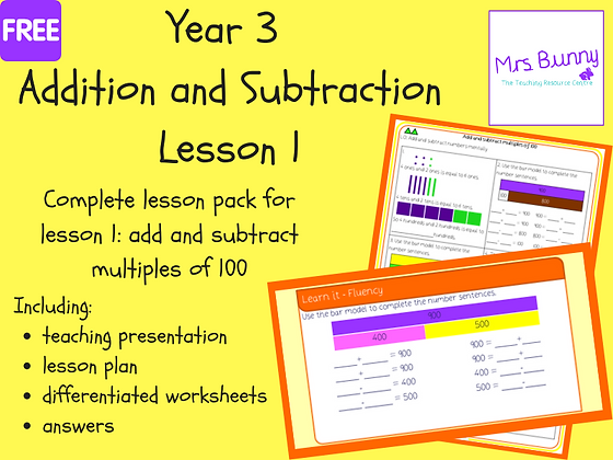 Add and subtract multiples of 100 lesson pack (Year 3 Addition and Subtraction)