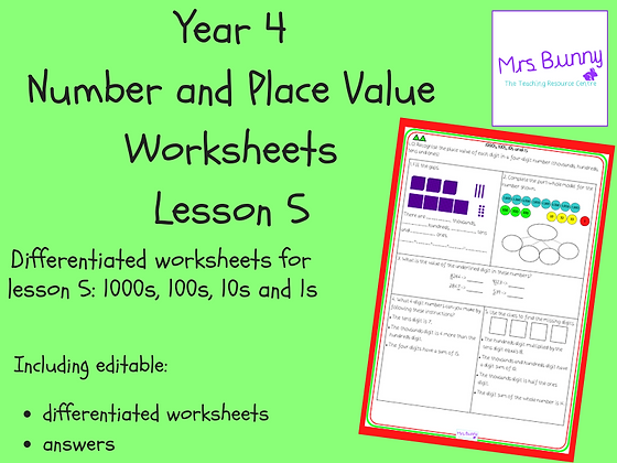 1000s, 10s, 1s worksheets (Year 4 Number and Place Value)