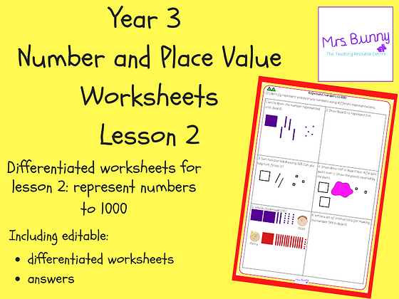 Represent numbers to 1000 worksheets (Year 3 Number and Place Value)