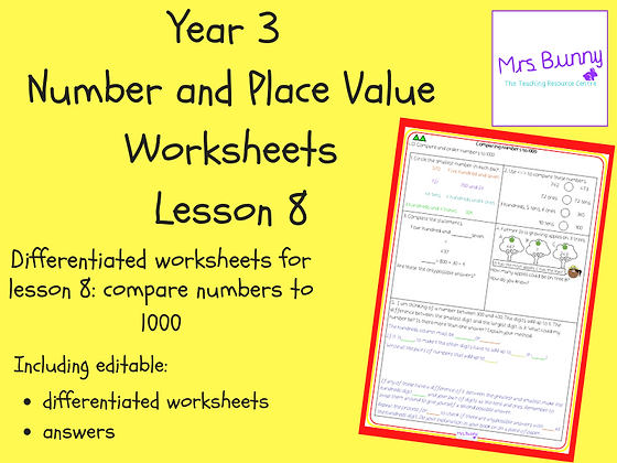 Compare numbers to 1000 worksheets (Year 3 Number and Place Value)