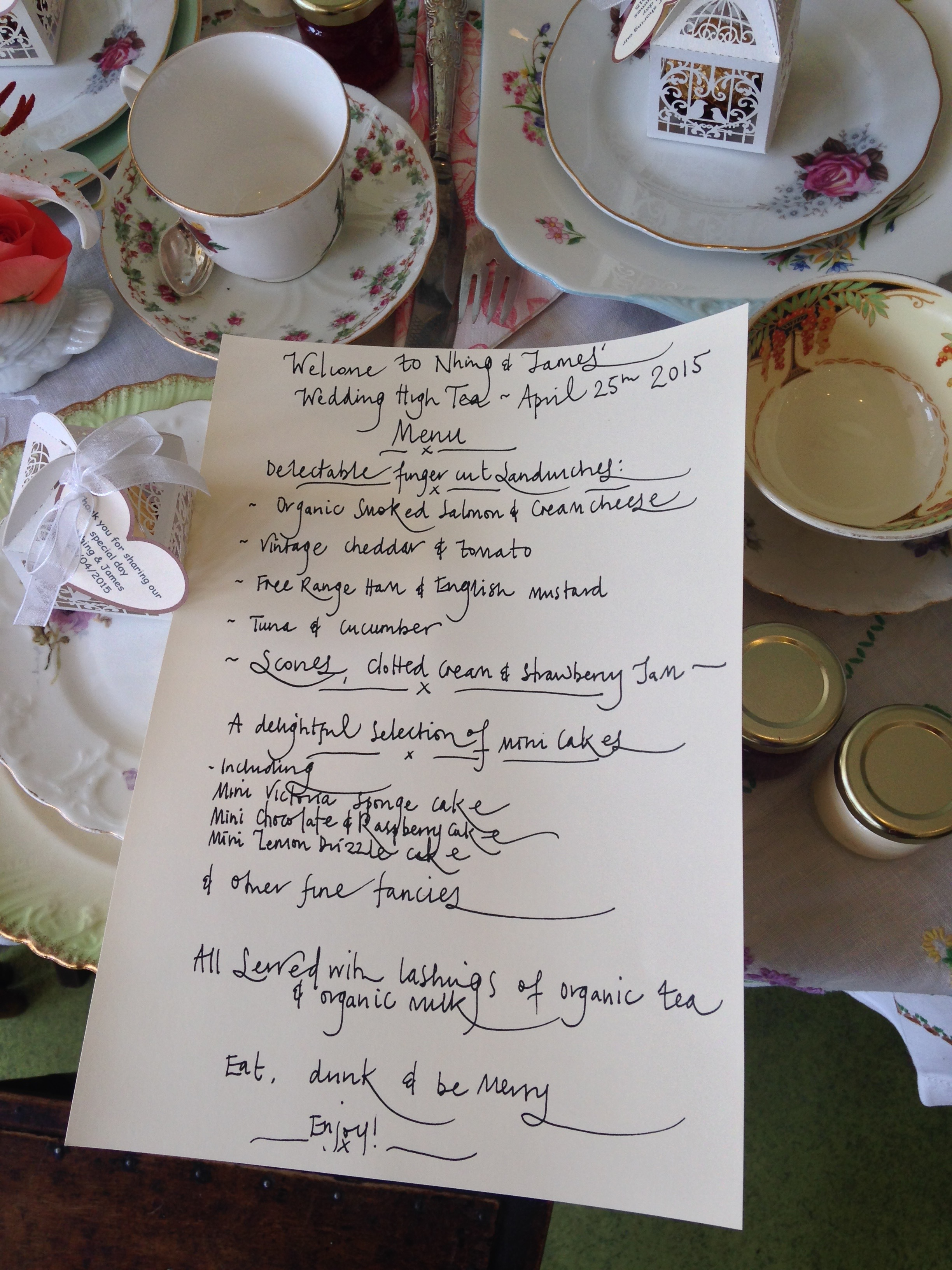 Nhing and James's High Tea Menu.