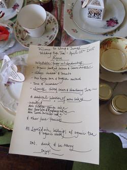 Nhing and James's High Tea Menu.