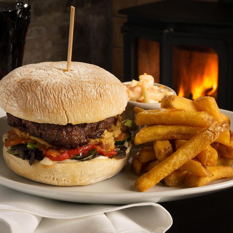 Homemade burger and handcut chips