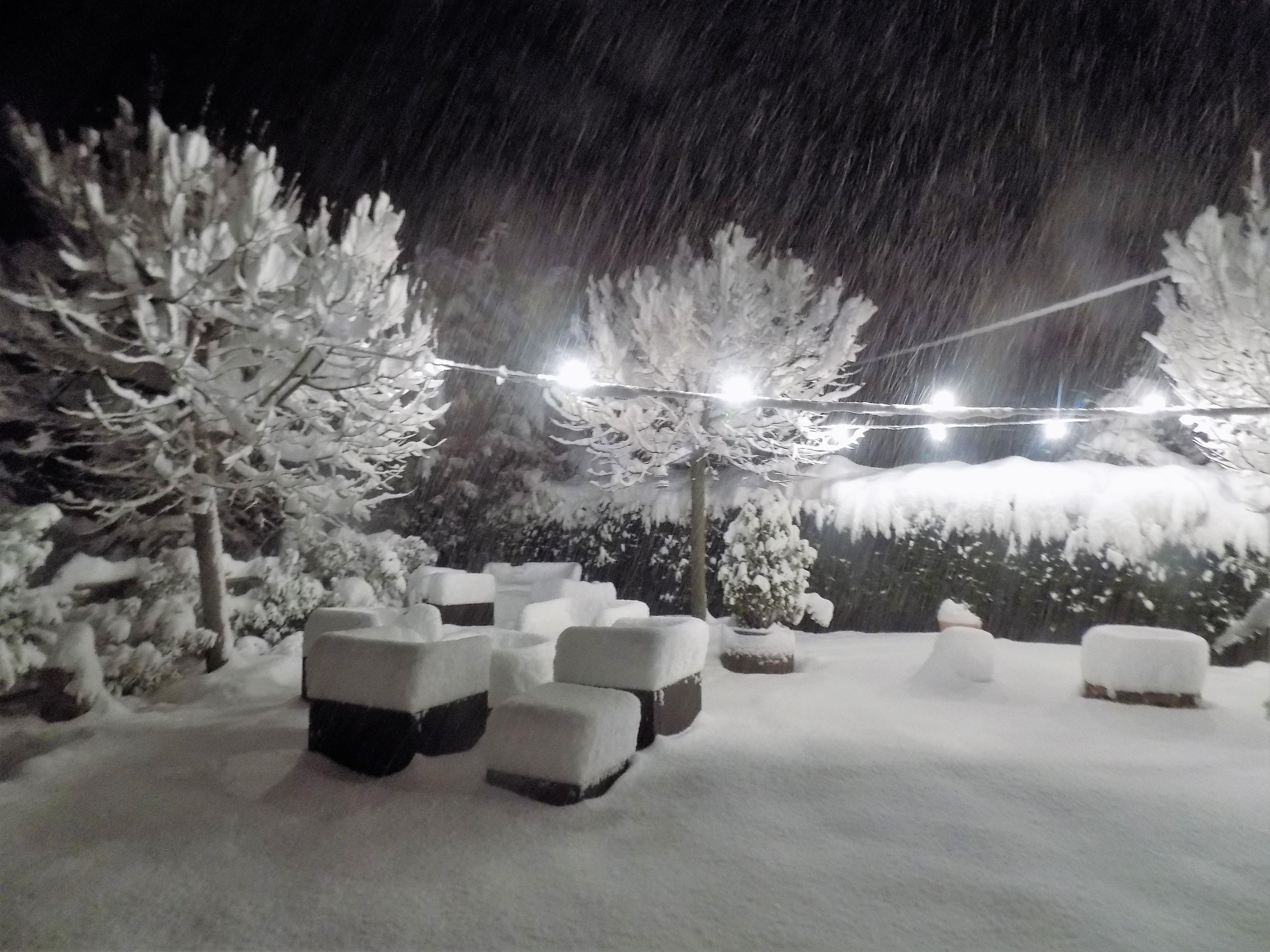 terraza nieve noche