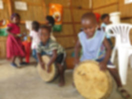 School Kids Playing Drums Africa