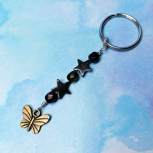 Butterfly star keyring