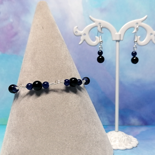 Onyx and sodalite jewellery set