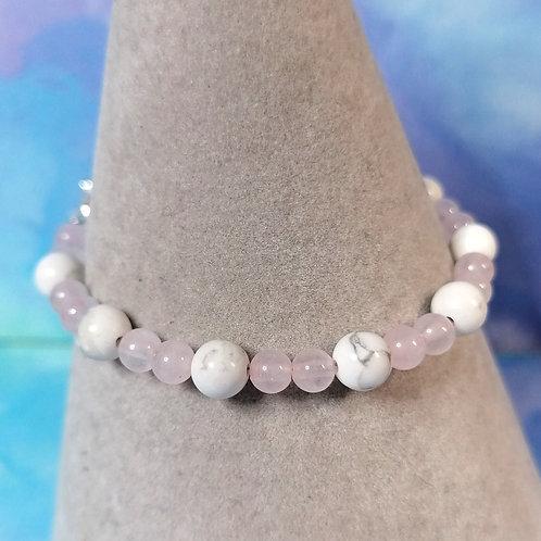 Howlite and rose quartz childrens bracelet