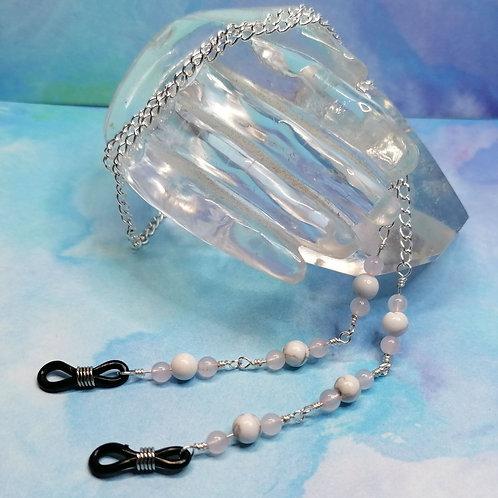 Howlite and rose quartz glasses chain