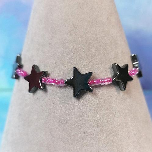 Pink haematite star childrens bracelet