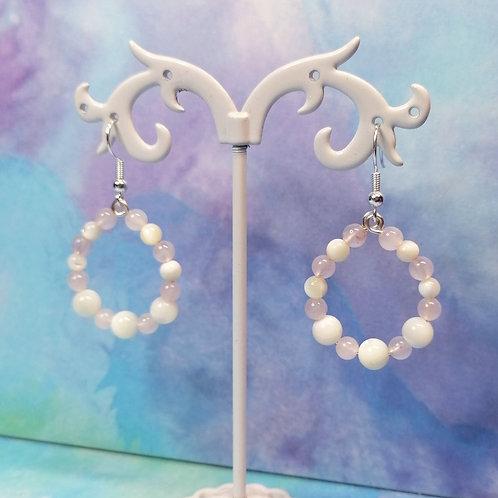 Mother of pearl and rose quartz loop earrings