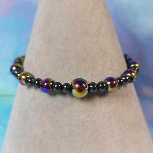 Rainbow haematite childrens bracelet