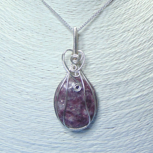 Lepidolite wire wrapped pendant