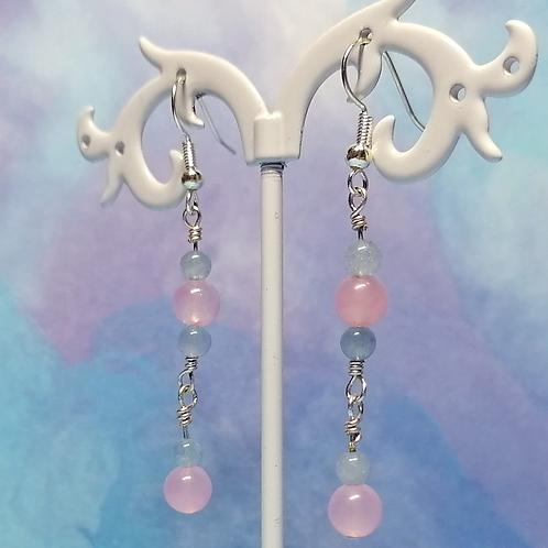 Rose quartz and Aquamarine earrings