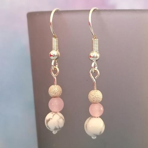 Howlite and rose quartz earrings