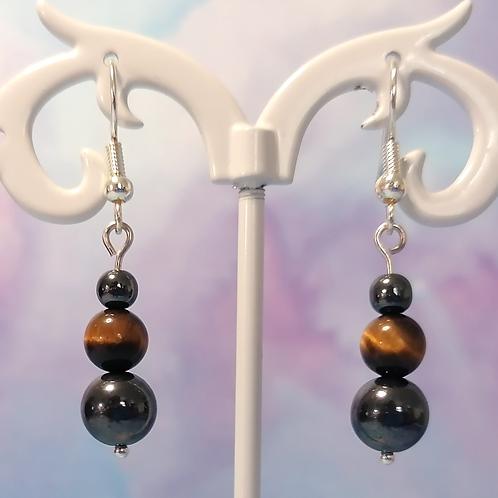 Tigers eye and haematite earrings