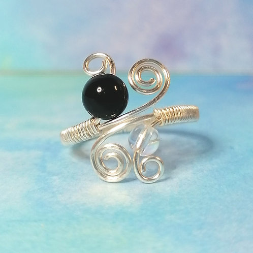 Onyx and clear quartz adjustable ring