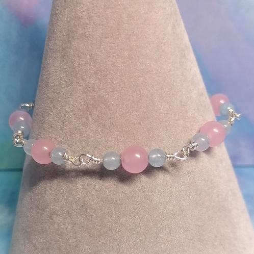Rose quartz and aquamarine bracelet