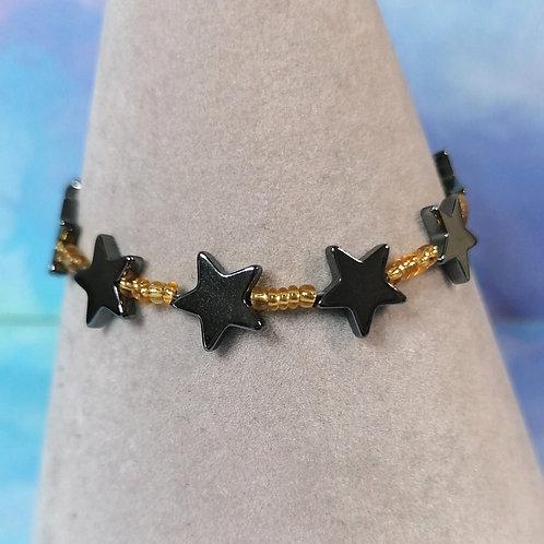 Gold haematite star childrens bracelet