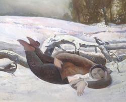 Glen Preece Man in the Snow near Chimney