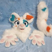 Furry Tailor dog partial floppy ears minky nose minky hand pads scraps