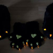 black hand paws with yellow LED resin claws and black feet paws with yellow LED claws