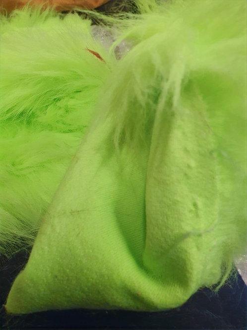 Obnoxiously bright green 80mm longpile - Half Yard Piece